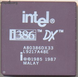 Intel A80386DX33 white print