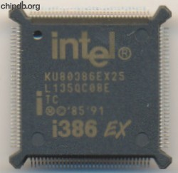 Intel KU80386EX25 TC brown print