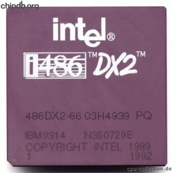Intel 486DX2-66 03H4939 Made by IBM printed